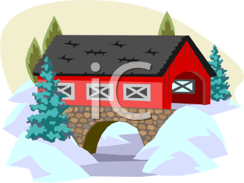 Covered Bridge With Stone Supports   Royalty Free Clip Art Picture