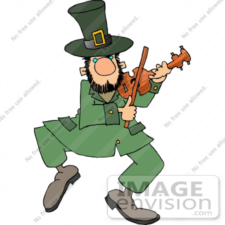 Dancing Leprechaun Playing Violin Clipart    12636 By Djart   Royalty