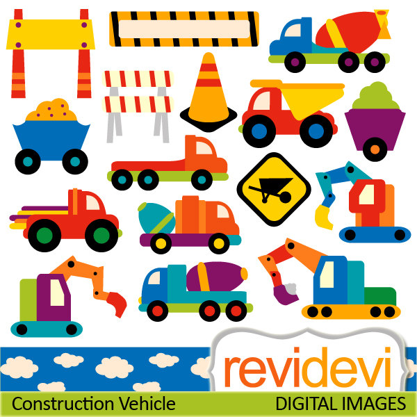 Digital Clipart   Construction Vehicle 07370   By Revidevi On Etsy
