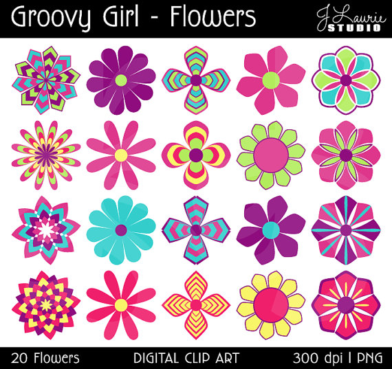 Digital Clipart Flowers Groovy Girl Flowers Colorful Seventies Sixties