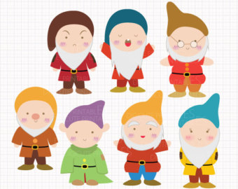 Disney Inspired Seven Dwarfs From Snow White Digital Clip Arts
