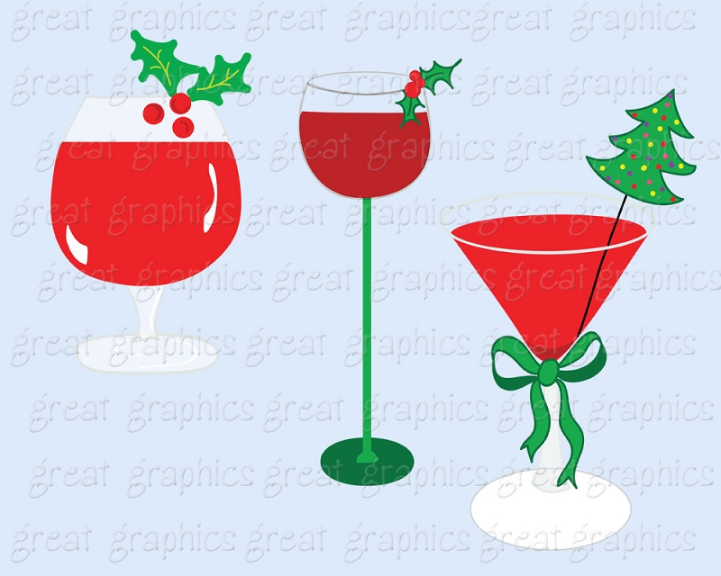 Holiday Cocktail Party Clipart Printable Christmas Cocktail