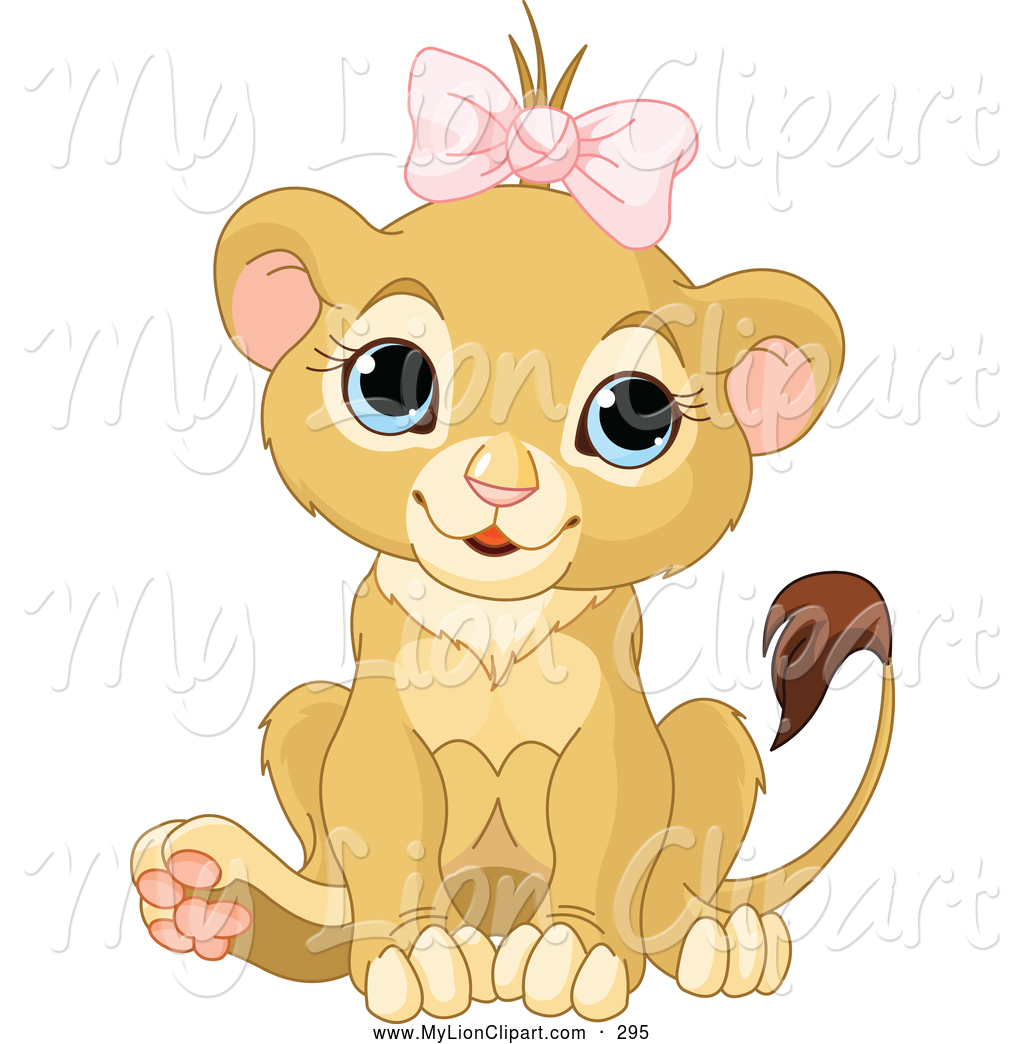 Larger Preview  Clipart Of A Happy Cute Baby Female Lion Wearing A Bow