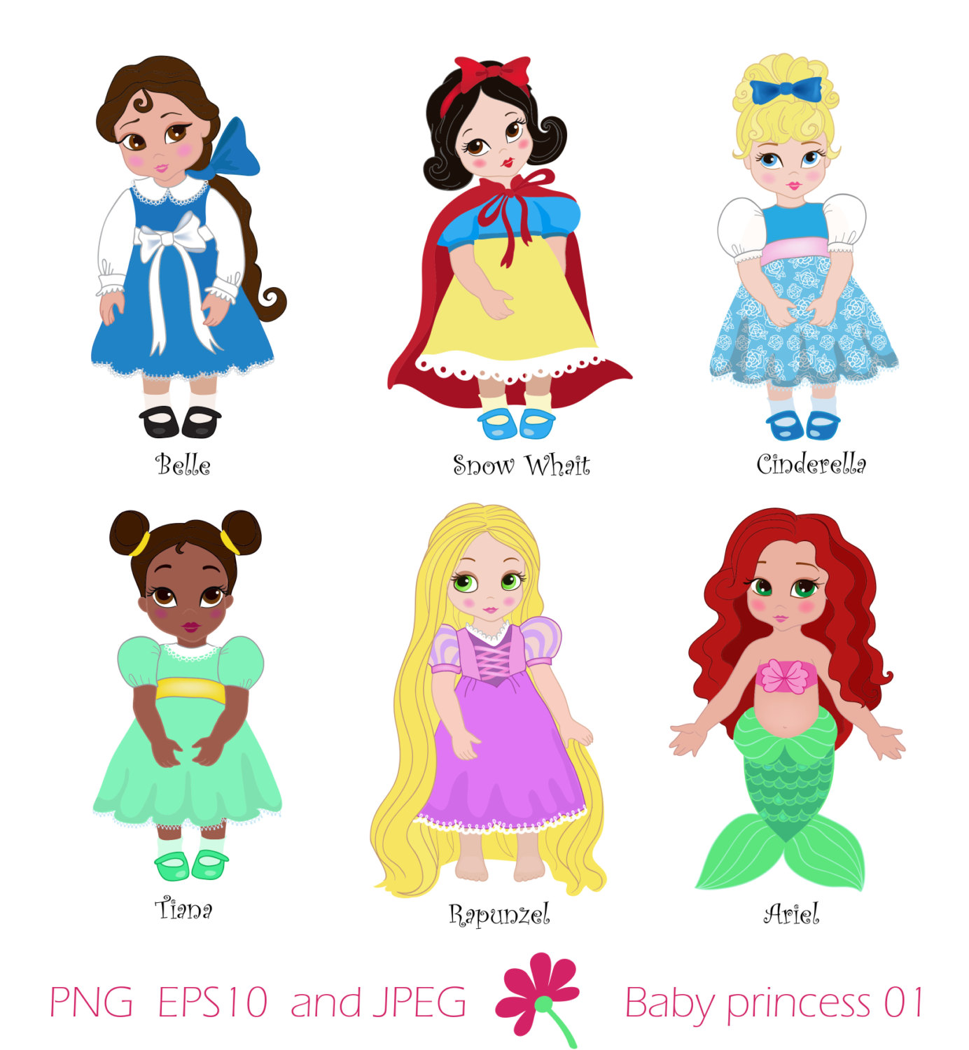 Princess In Childhood Digital Clipart Set Baby By Sandydigitalart