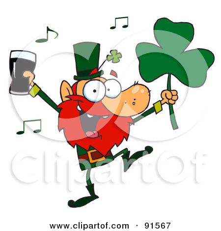 Royalty Free  Rf  Clipart Illustration Of A Dancing Leprechaun Holding