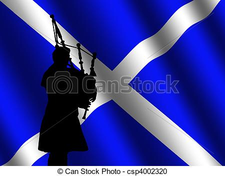 Scottish Flag   Bag Piper In Kilt With    Csp4002320   Search Clipart