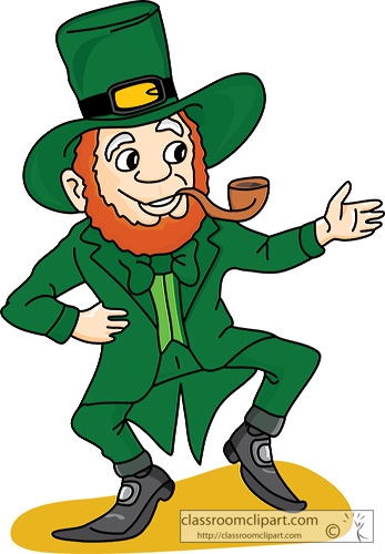 St Patricks Day   Dancing Irish Leprechaun    Classroom Clipart