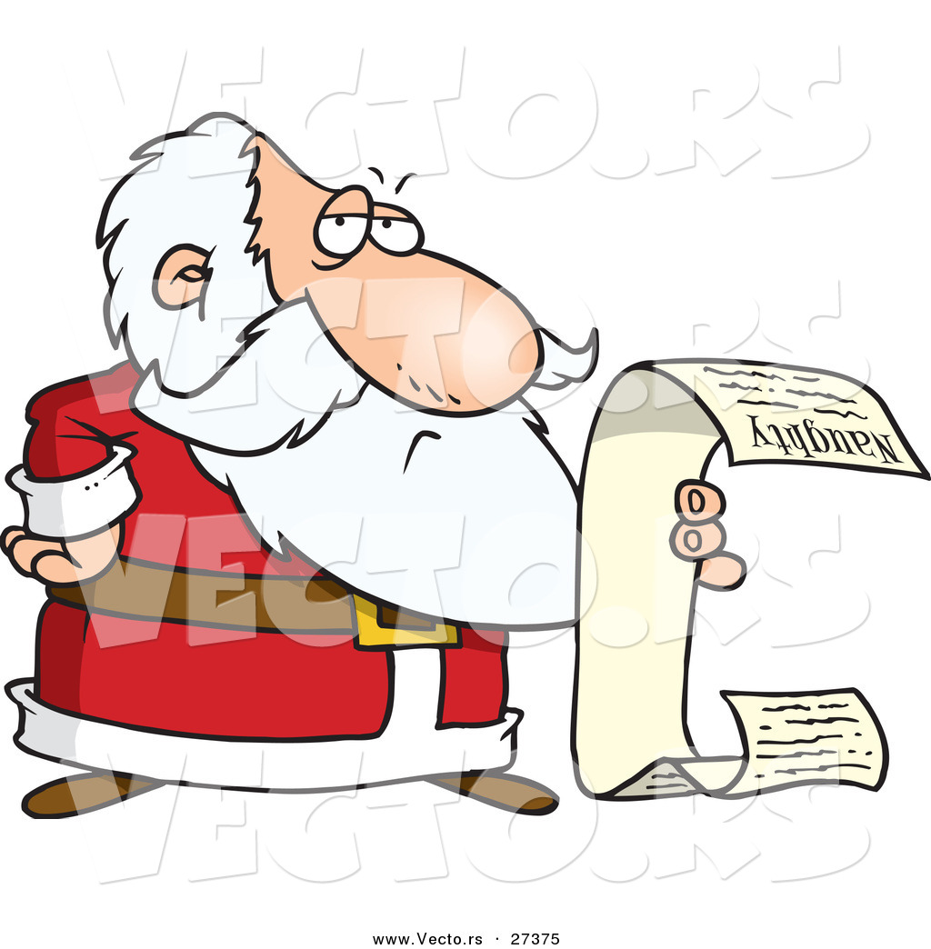 Art Of Santa Reading List Royalty Free Naughty Stock Designs Image
