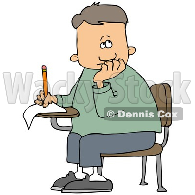 Clipart Illustration Of A Nervous School Boy Seated At His Desk