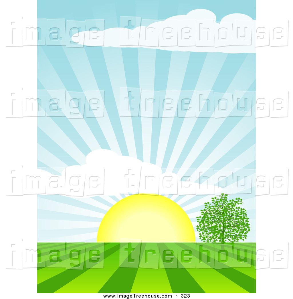 Clipart Of The Bright Yellow Morning Sun Rising Over A Tree In A Field