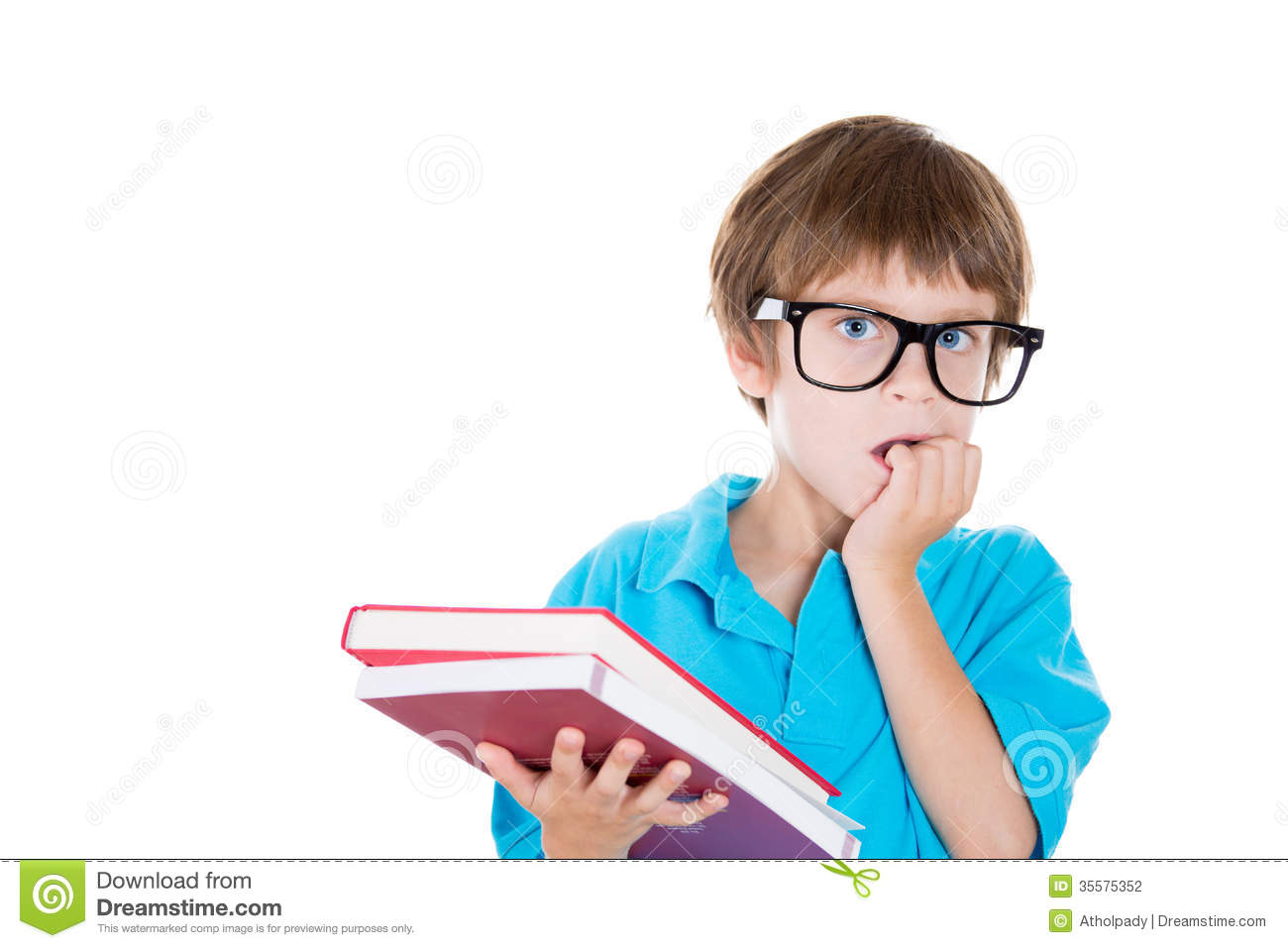Closeup Portrait Of Nervous Boy In Big Black Glasses Carrying Books