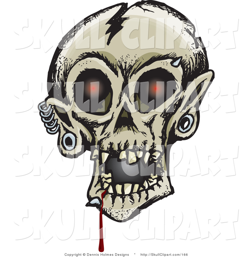Larger Preview  Vector Clip Art Of A Creepy Cracked Human Skull With