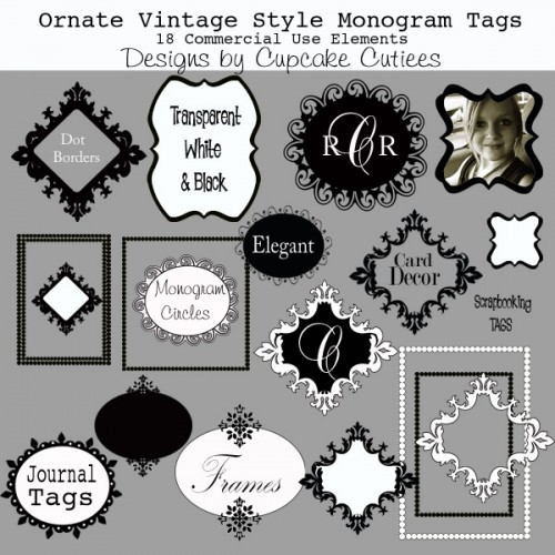 Ornate Vintage Style Tags And Frames Boutique Commerical Use Clipart