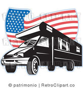 Royalty Free Retro Rv And Wavy American Flag By Patrimonio