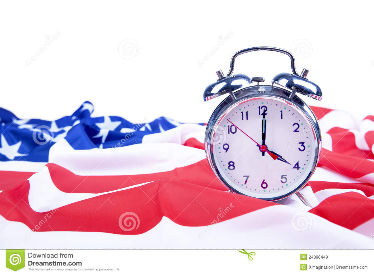 Royalty Free Stock Images  American Flag And Alarm Clock Isolated On