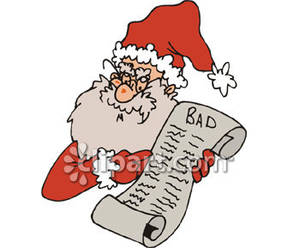 Santa With Naughty List   Royalty Free Clipart Picture