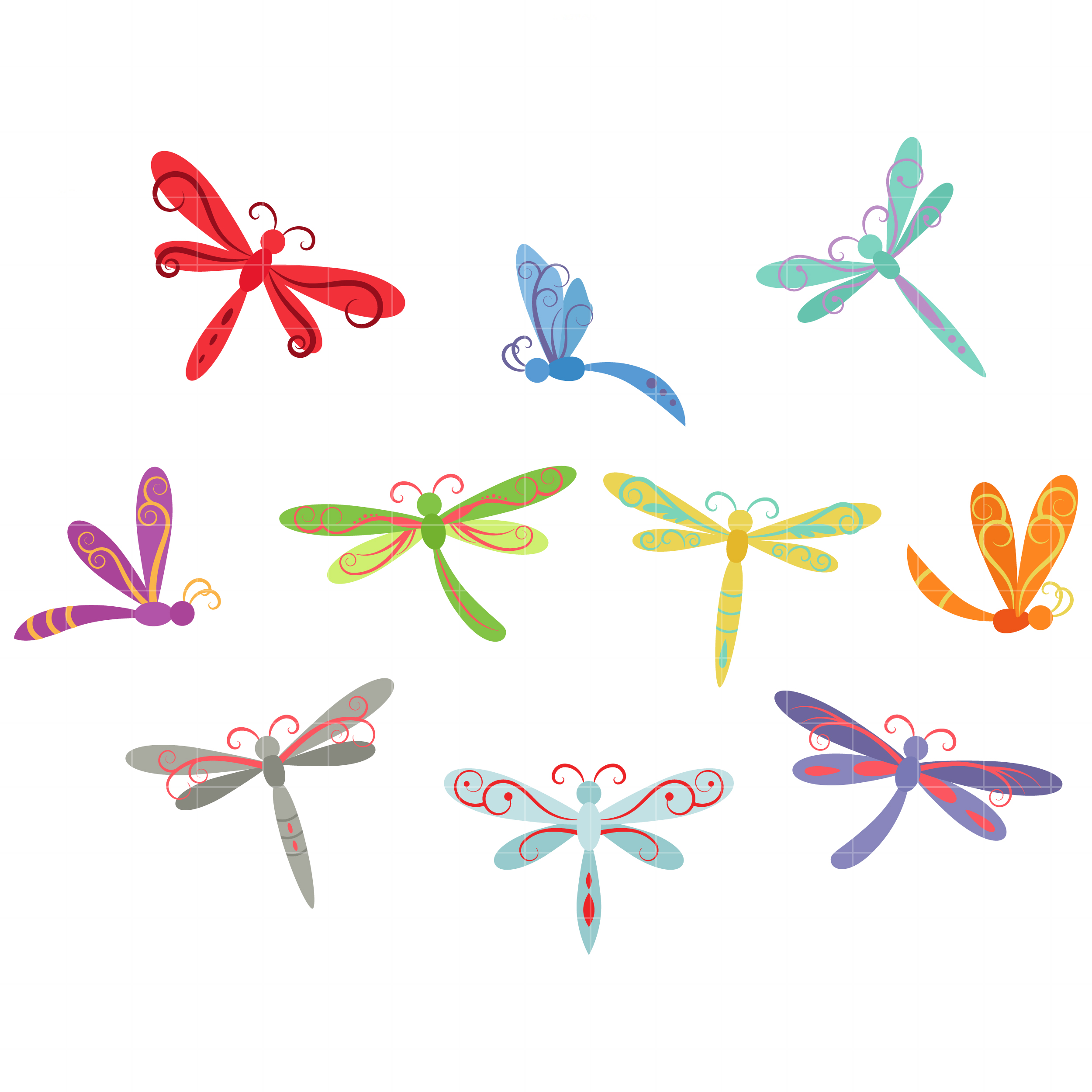 Whimsical Dragonflies Set Semi Exclusive Clip Art Set For Digitizing