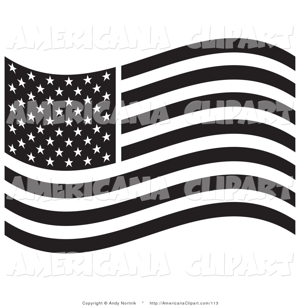 Americana Vector Clip Art Of A Black And White American Flag