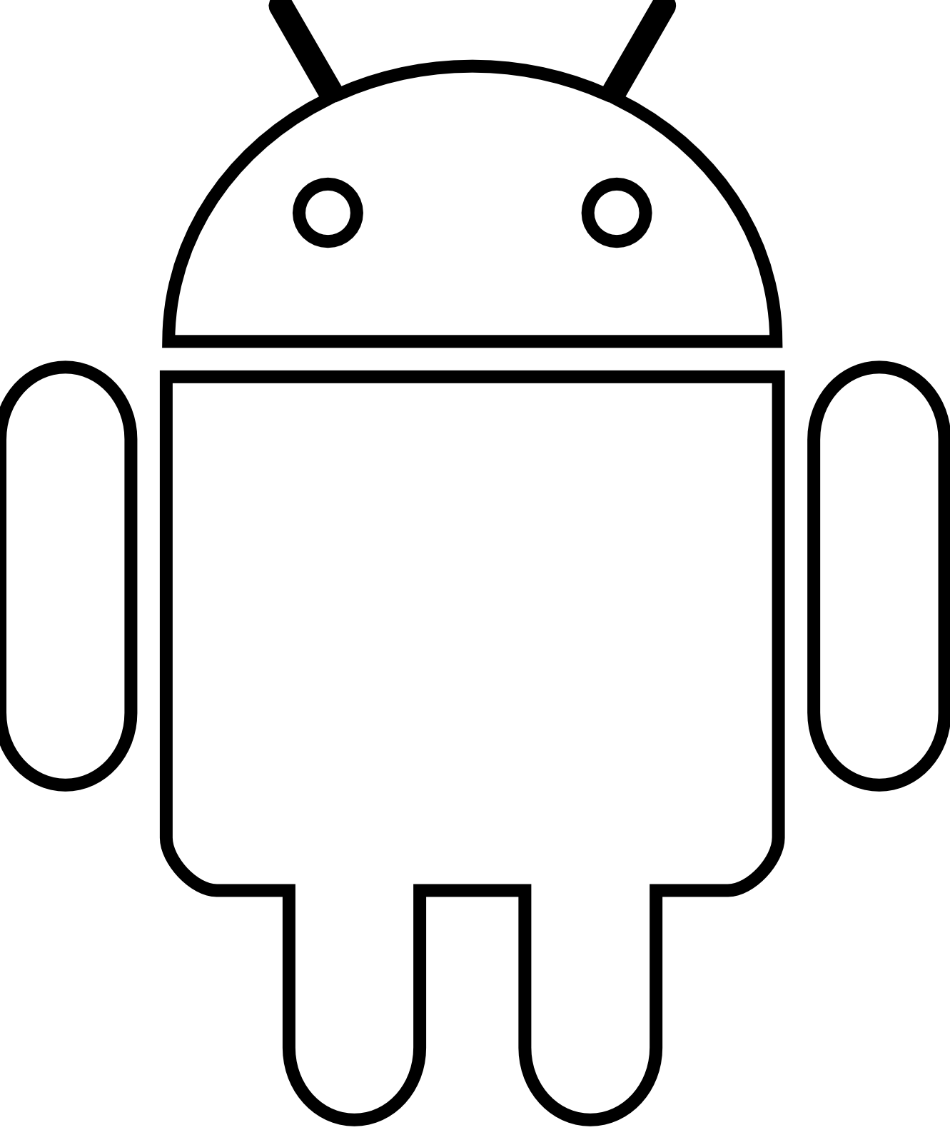 Android Robot Black White Line Art Scalable Vector Graphics Svg