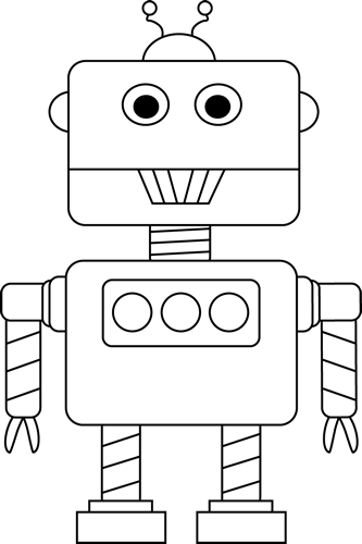 Black And White Robot Clip Art   Black And White Robot Image