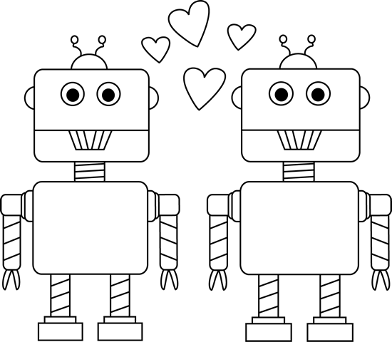 Black And White Robot Love Valentine Clip Art   Black And White