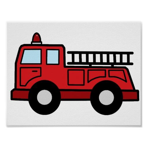 Cartoon Clip Art Firetruck Emergency Vehicle Truck Poster