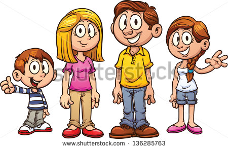 Cartoon Family  Vector Clip Art Illustration With Simple Gradients