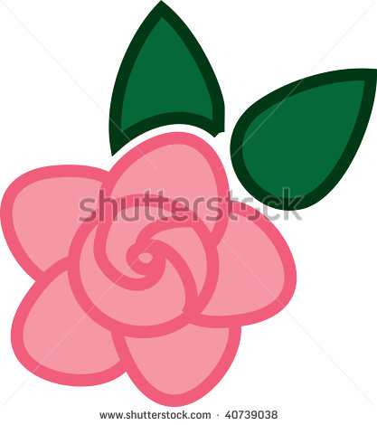Clip Art Illustration Of A Pink Rose With Color Outlining    40739038