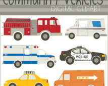 Emergency Vehicles Clip Art Set  Personal And Limited Commercial
