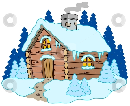 In Winter Landscape Stock Vector Clipart Wooden Cottage In Winter