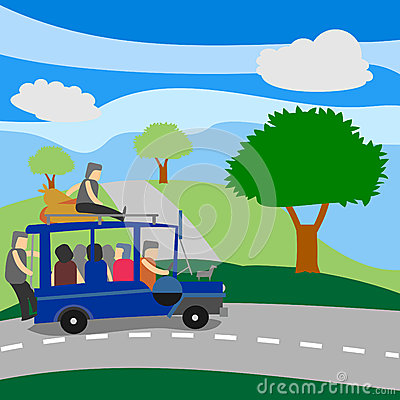 Philippine Jeepney With Passengers Stock Illustration   Image