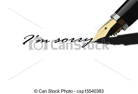 Stock Illustration Of Pen Writing I Am Sorry Csp15540383   Search Eps