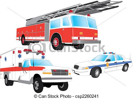 Vector Clip Art Of Emergency Vehicles   Firefighter Ambulance And