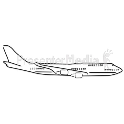 Airplane Outline Drawing Presentation Clipart