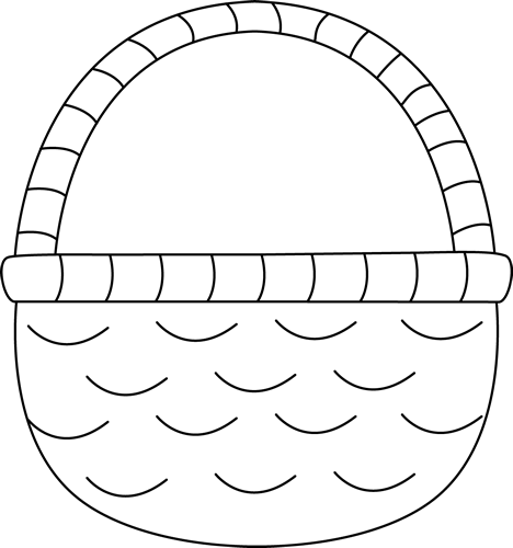 And White Easter Basket Clip Art   Black And White Easter Basket Image