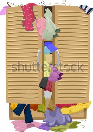 Beauty   Fashion   Illustration Of A Closet Overflowing With Clothes