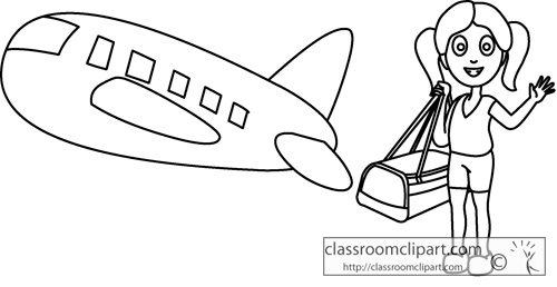 Cartoon Girl Traveling Airplane Outline   Classroom Clipart