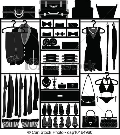Clip Art Vector Of Closet Wardrobe Cupboard Man Woman   A Set Of Man