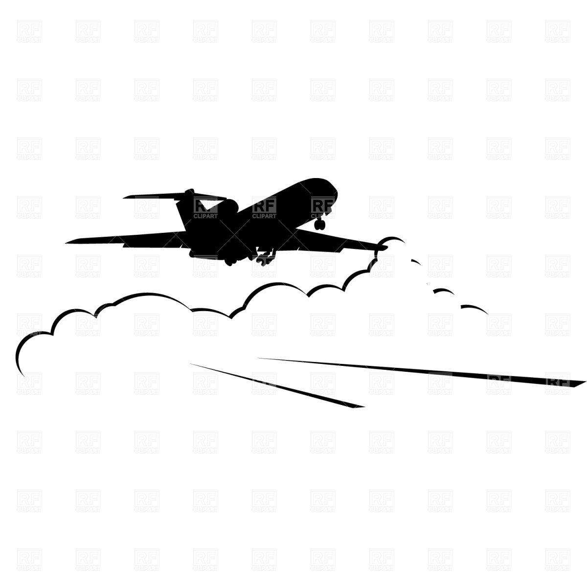 Clipart Catalog Silhouettes Outlines Jet Airplane Landing Download