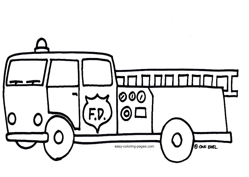 Fire Truck Outline Clipart - Clipart Kid