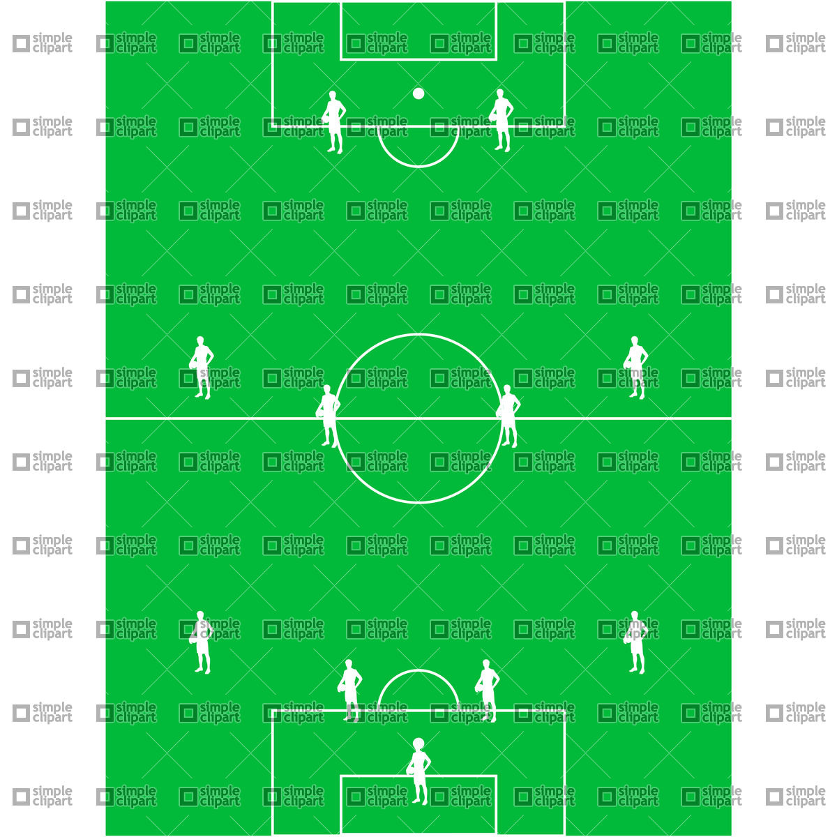 Football  Soccer  Field With The Arrangement Of Players 4 4 2 21215
