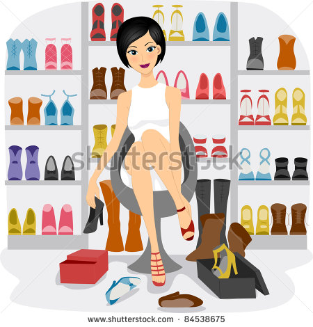 Girl Fitting Shoes In Her Shoe Closet Or A Shoe Store   Stock Vector