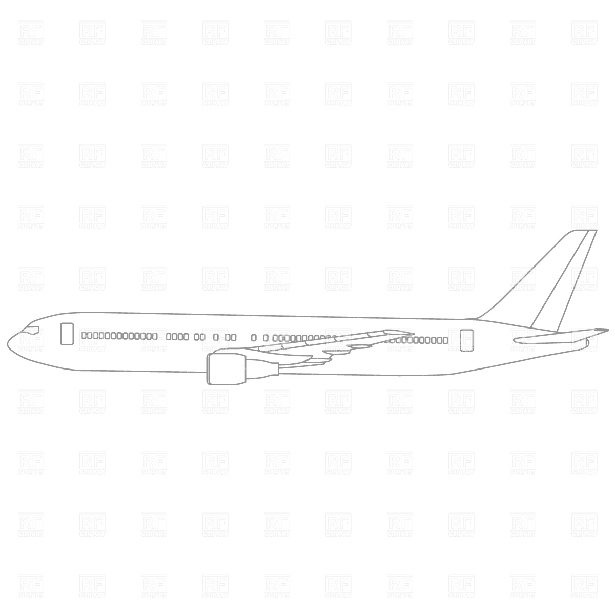 Jet Airplane Outline 745 Download Royalty Free Vector Clipart  Eps