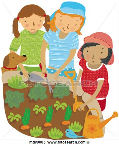 Of Children Planting Vegetables In The Garden Mdy0003   Search Clipart