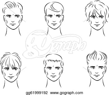 Options For Men S Hairstyles From The Front  Stock Clip Art Gg61999192