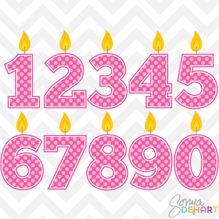 Pink Polka Dot Number 1 Clip Art Clip Art Birthday Candles Pink