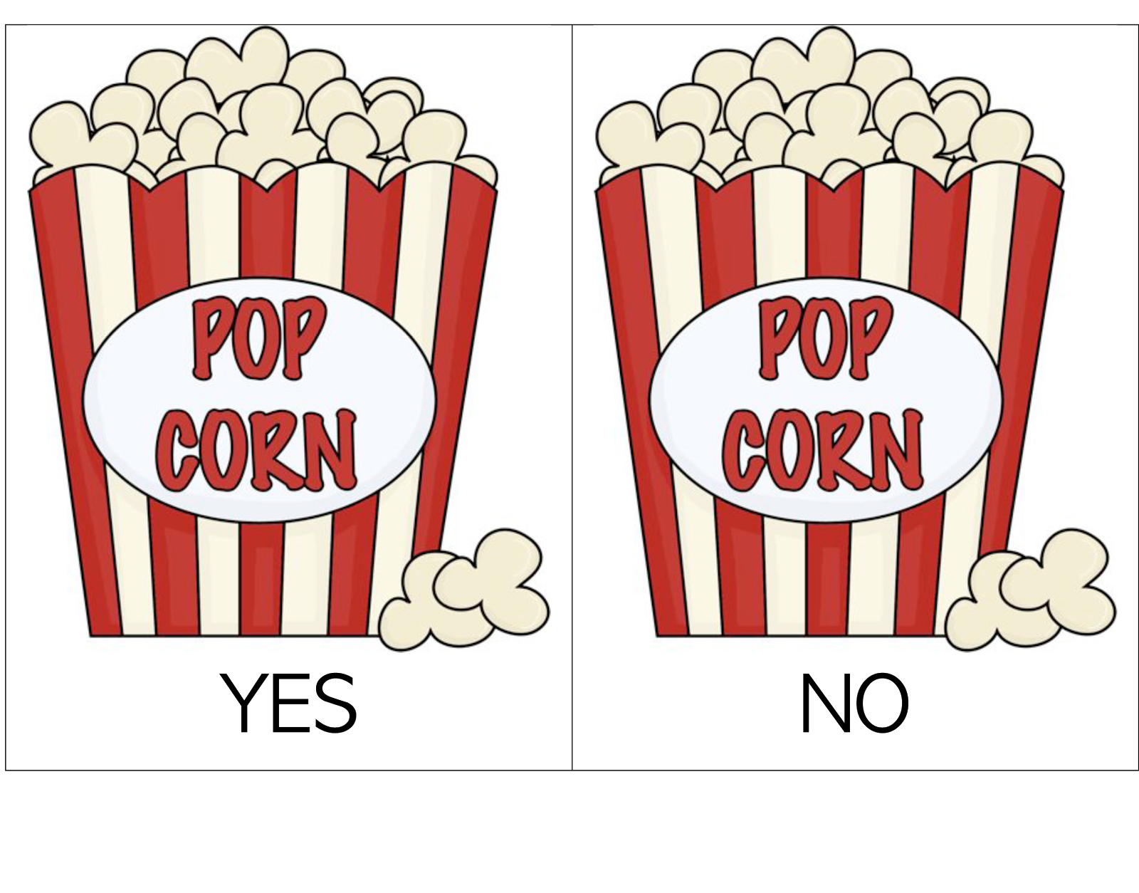 Popcorn Box Clip Art Yes No Popcorn Containers