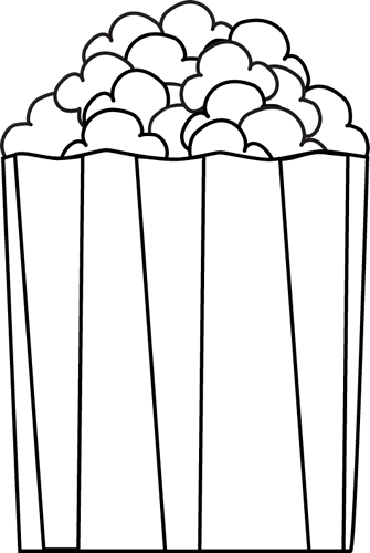 Popcorn Clip Art Image   Black And White Outline Of Popcorn In A Box