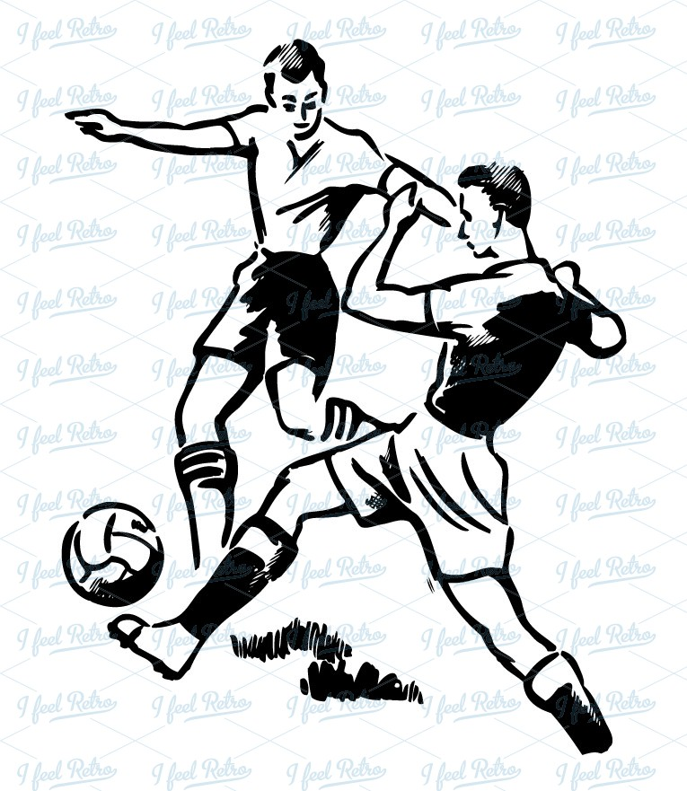 Retro Clipart  Soccer Duel   Authentic Vintage European Vector