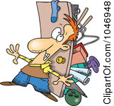Rf Clip Art Illustration Of A Cartoon Hoarder Man With A Full Closet